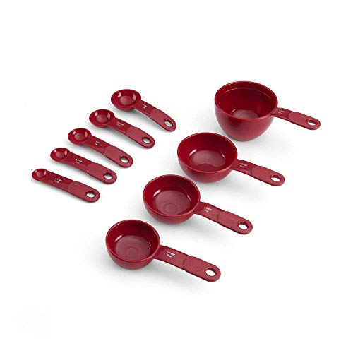 KitchenAid 9-Piece Measuring Cup and Spoon Set, Red -