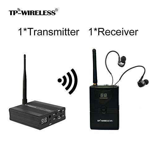 TP-WIRELESS 2.4GHz Sistema di monitoraggio per palco professionale in-ear senza fili, sistema di comunicazione senza fili a auricolare interno (1 trasmettitore e 1 ricevitore)