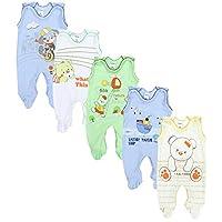 TupTam Unisex Baby Strampler mit Aufdruck Baumwolle 5er Set, Farbe: Junge, Größe: 62