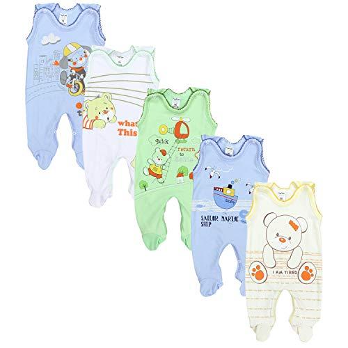 TupTam Unisex Baby Strampler mit Aufdruck Baumwolle 5er Set, Farbe: Junge, Größe: 68