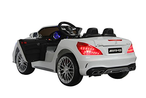 RC Auto kaufen Kinderauto Bild 2: Jamara 460296 Ride-on Mercedes SL65 weiß 12V – Softanlauf, 2-Gang, Stoßdämpfer, SD-Slot, AUX-und USB-Anschluss, LED, Hupe, bis zu 90 Min. Fahrzeit, Ultra-Gripp Gummiring*