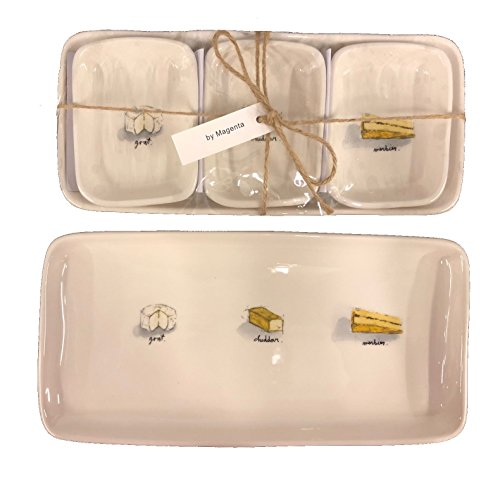 Rae Dunn Ceramic Cheese Plate Gift Set - Party Plates for Appetizer or Dessert