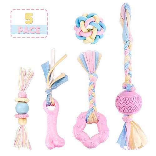 FONPOO Welpenspielzeug, Hundespielzeug Interaktives Kauen Rosa 5er Set, Haustier hundezubehör Spielzeug Mit Glockenkugel für Kleine Hunde