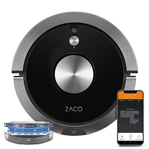 ZACO A9sPro Robot aspirador con función de limpieza, control de aplicación y Alexa, mapping, aspirar o limpiar hasta 2 h, para suelos duros, alfombras, pelo de animales, base de carga, Negro carbono