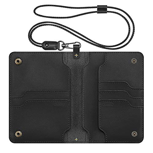 Fintie Passport Holder Travel Wallet - Premium Vegan Leather RFID Blocking Case Cover - Securely Holds Passport, Business Cards, Credit Cards, Boarding Passes, USA-Brown