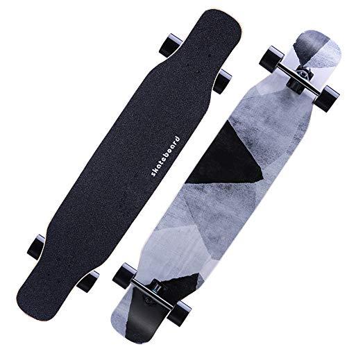 Skateboards Freestyle 118 * 24cm Komplette Longboard Pintail 4 durchsichtige PU-Rollen Hochgeschwindigkeits-Anti-Rutsch-Dämpfer Anfänger Teenager Erwachsene