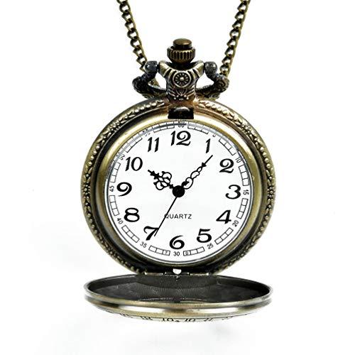 Reloj de Bolsillo Grande Elemento de Bronce Reloj de Bolsillo Retro para Hombres y Mujeres Bronce