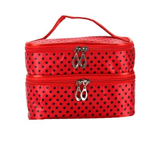 Bolsa portátil del patrón del bolso creativo Wavelet punto de doble capa Bolsa de cosméticos de maquillaje Multi Función de lavado bolsa de viaje Inicio Red Productos de belleza Útil