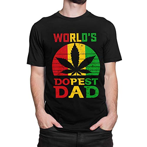 Weed World's Dopest Dad T-Shirt Funny Leaf Cool Tee for Men Women XL Black