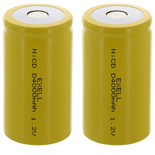 2x Exell D Size 1.2V 4000mAh NiCD Flat Top Rechargeable Batteries for meters, radios, hybrid automobiles, high power static applications (Telecoms, UPS and Smart grid), radio controlled devices