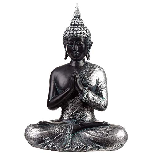 Puckator - Statuetta di Buddha Thailandese, Colore: Nero/Argento