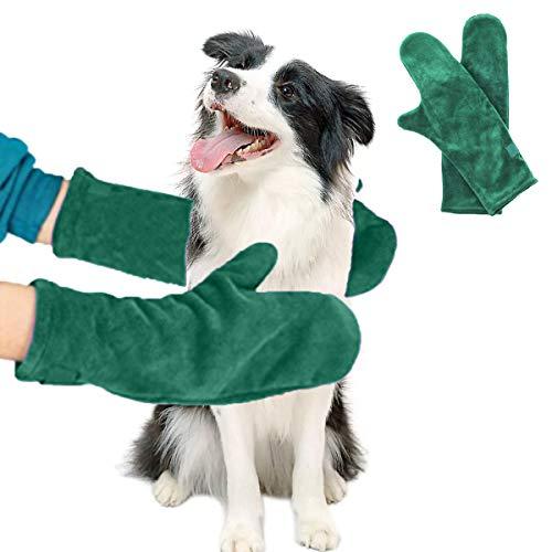 yine Guanti da Bagno per Cani Gatti, Microfibra Asciugamani per Pulizia di Cane, 2 Guanti per Asciugare, per Animale Domestico Casa da Compagnia Cucciolo all'aperto Verde Rosso (Verde)