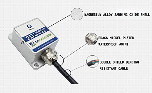 Bwsensing 2D Digital Compass inclinometer Sensor LEC215 with Heading Accuracy 2 Degree and RS232,RS485,TTL,Modbus Output for Optional