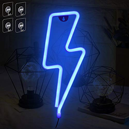 Umitive Letreros de Neon Rayo, Luz Neón LED con 4 Ganchos, Batería o USB Accionado, Ahorro de Energía, Señal de Neón Lámparas, Azul Muestra Ligera de Neón para Decoración de Pared, Fiesta y Habitación
