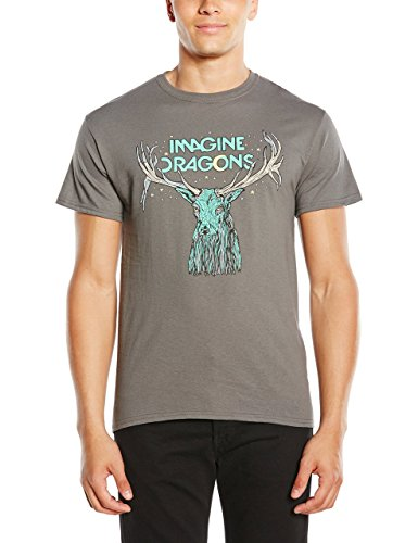 Imagine Dragons Elk In Stars Camiseta Manga Corta, Gris, XL para Hombre