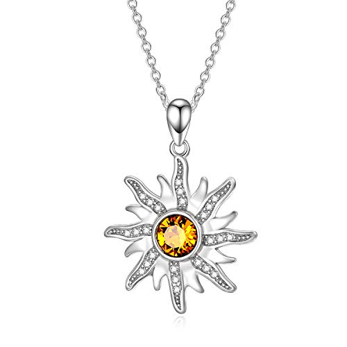 Sterling Silver Sun Sunburst Pendant Necklace with Citrine Swarovski Crystal, November Birthstone Jewelry, Christmas Gift for Women Girls