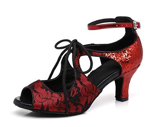 Hanfike Zapatos de boda de encaje para las mujeres sandalias de fiesta de correa de tobillo, Red, 35.5 EU