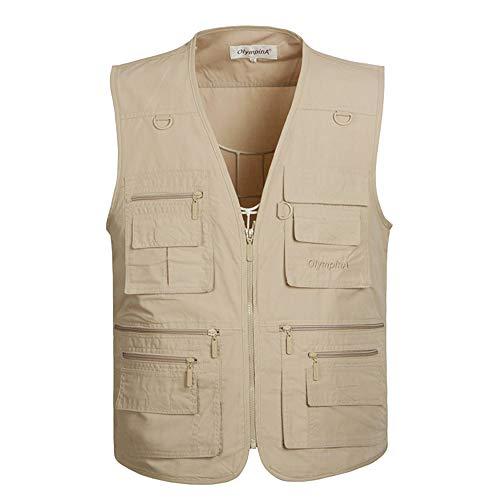 KINDOYO Herren Sommerweste Jacke - Outdoor Lose Multi-Pocket Uniform für Fotojournalisten zum Angeln, 4XL/Stil 1