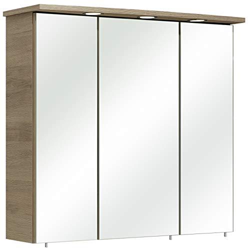 Pelipal Bacoli ll Spiegelschrank, Holz, San Remo Eiche Terra quer Nachbildung, 75x72x20 cm