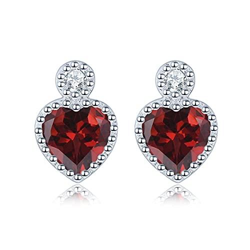Pendientes para mujer de Lohaspie de plata de ley 925, forma de corazón, piedras preciosas naturales, regalo para niñas, Plata Gema, Garnet,