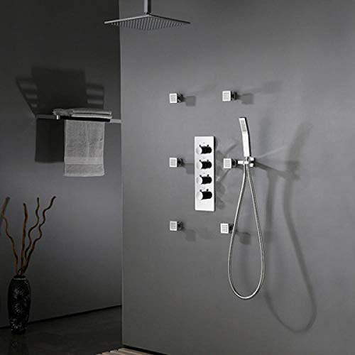 Grifo termostático de ducha para baño grifo termostático de pared para bañera y juego de grifo de ducha negro mate-style_3_black,TW0WZLROMMLT0