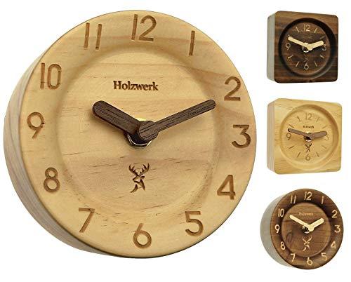 Holzwerk Germany  Orologio da tavolo analogico in legno naturale di acero marrone, silenzioso orologio da tavolo, rotondo, rettangolare, orologio da tavolo senza ticchettio con lancetta in legno
