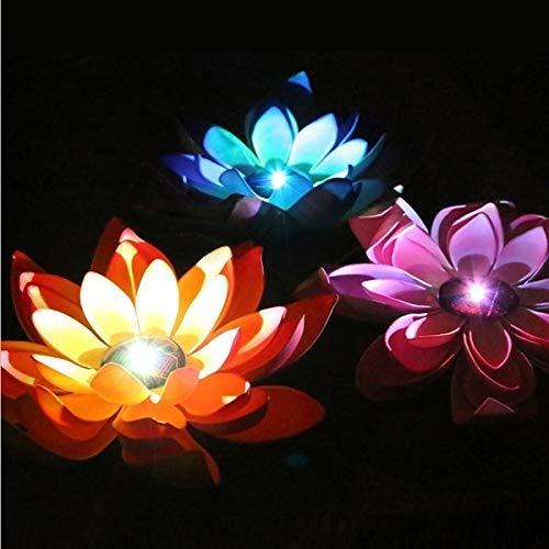 BANANAJOY La luz Decorativa, luz de la Noche de energía Solar Flotante Impermeable de la Flor de Loto lámpara de luz LED con Panel Solar, del 1 al 3