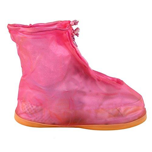 Réutilisable Imperméable Semelle Épaisse antidérapante réutilisable zippée Motif Chaussures Bottes pour femme fille XXL rose