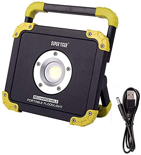 Reflector LED para Trabajo en Exteriores de 10 W, reflectores portátiles Recargables con Puerto USB, Banco de energía Incorporado de 4400 mAh, 1200 lúmenes, 2 Modos, Foco Impermeable IP65 pa