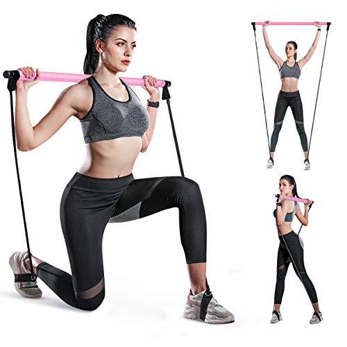 SGODDE Fitnessband für Yoga, Pilates, Bar-Set, tragbar, Pilates-Stange, Muskelaufbau mit Fußschlaufe, Yoga, Pilates, Bar (Pink)