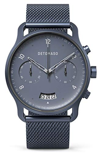 DETOMASO SORPASSO Chronograph Blue Herren-Armbanduhr Analog Quarz Mesh Milanese Uhren-Armband Blau