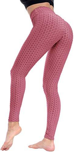 Beelu Damen Gym Leggings High Waist Push Up Sport Leggins Fitnesshose, Altrosa, Gr.- M