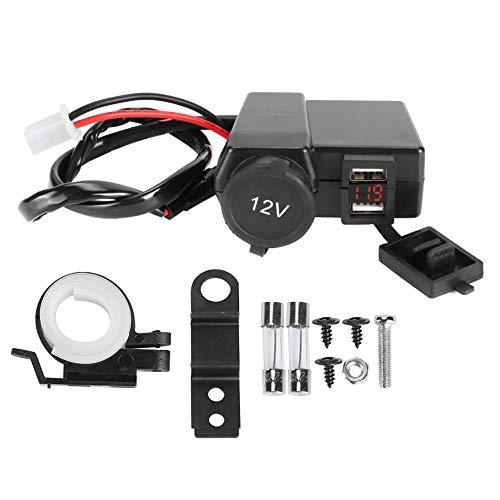 Yctze Cargador 12V-24V Cargador de motocicleta Encendedor de cigarrillos Monitoreo de voltaje Carga rápida USB dual para teléfono Cámara GPS(rojo)