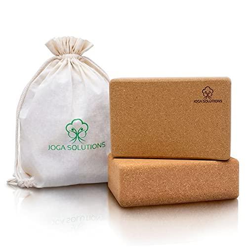 Joga Solutions®- Yoga Block- erprobte Maße (22,5x15x7,5)- Yogablock Kork+ gratis E-Book/Beutel- Yoga Block 2er Set für Yoga & Pilates+ Zertifizierte Qualität (FSC)