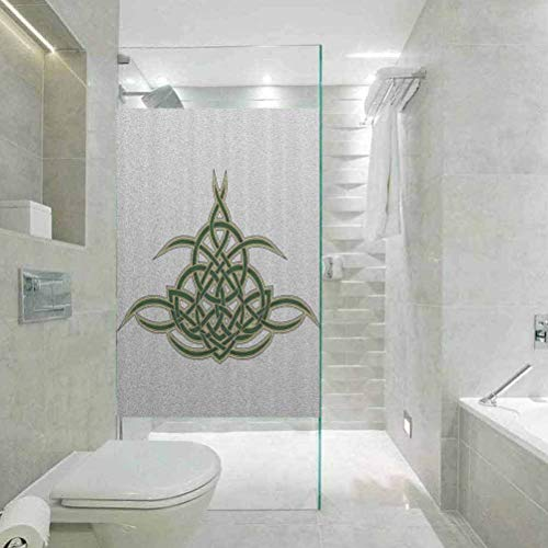 Waterproof Glass Window Privacy Film Stained Glass Sticker, Celtic Decor Collection Original Celtic Shield, Living Room Bedroom Kitchen Lobby Porch Office, 23.6' Wx47.2' Linches