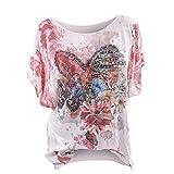 BHYDRY Camiseta de Gran tamaño para Mujer, con Cuello Redondo, Estampado y teñido.(Rosa,XXXX-Large)