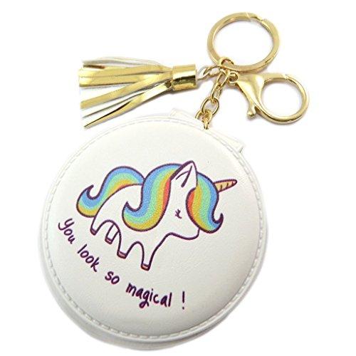Les Trésors De Lily [P5391] - Miroir de poche 'Licorne My Unicorn' blanc (You look so magical) - 8 cm