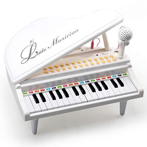 Amy & Benton Baby Keyboard Klavier Spielzeug mit mikrofon ab 1 2 Jahre, musikinstrumente Piano für Kinder ab 1 2 3 Jahr Mädchen und Junge - 31 Tasten , Weiß