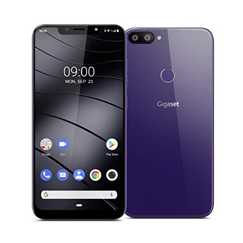 "Gigaset GS195 Smartphone ohne Vertrag mit 2GB Arbeitsspeicher Made in Germany - Handy mit 6,18"" V-Notch Display, Gesichtserkennung, Dual-SIM, 32GB Speicher, 4000 mAh Akku, Dark Purple"