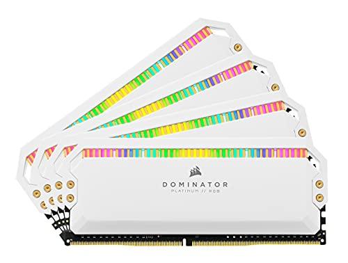 Corsair Dominator Platinum RGB Memoria per Desktop a Elevate Prestazioni Nelle Frequenze, 12 LED RGB CAPPELLIX Regolabili, DDR4, C18, 32GB, 4 x 8 GB, 3600 MHz, Bianco