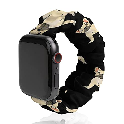 SWEET TANG Mens Women French Bulldog Lovely Apple iWatch Band 38mm/40mm, 42mm/44mm, Duarable Stretchy Watch Bands Sport Band, Polyester Replacement Strap with Clasps