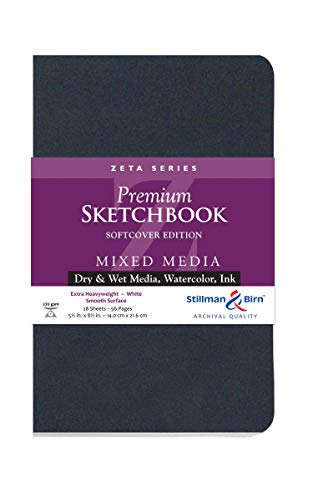 Stillman & Birn Zeta Series Softcover Sketchbook, 5.5' x 8.5', 270 GSM (Extra Heavyweight), White Paper, Smooth Surface