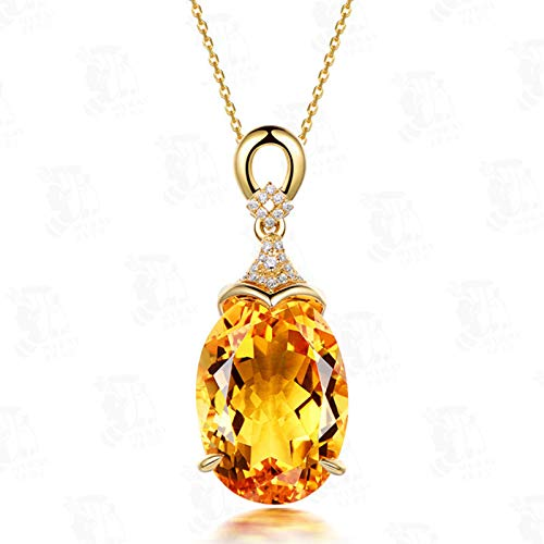 Olaffi 925 sterling silver Thick-layered gold color high-end citrine pendant women's necklace jewelry