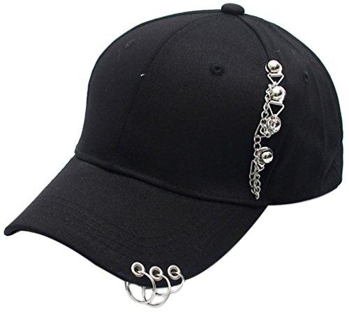 Belsen Damen Stift Ring Reifen Eisenkette Vintage Baseball Cap Trucker Hat (schwarz)