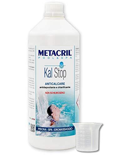Metacril Kal Stop 1 LT + dosatore.ANTICALCARE e Chiarificante Non SCHIUMOGENO - Ideale per Piscina o Idromassaggio (Teuco,Jacuzzi,Dimhora,Intex,Bestway,ECC.) Spedizione IMMEDIATA