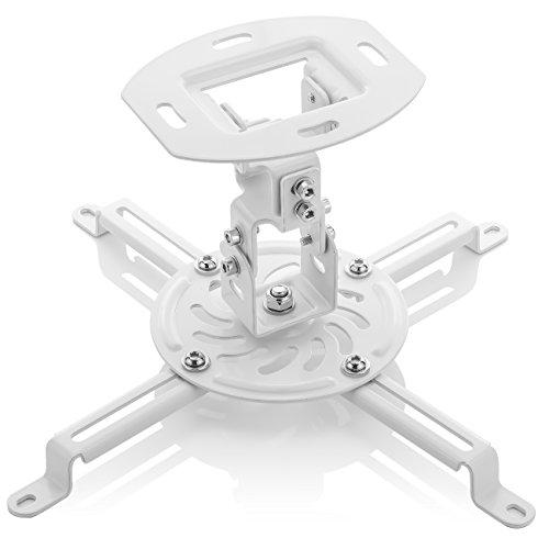 deleyCON Universal Beamerhalterung Projektor Deckenhalterung - Neigbar +-15° - 360° Schwenkbar - bis 13,5Kg Belastbar - mit Kabelführung - Weiß