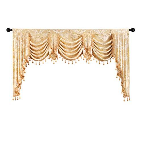 ELKCA Golden Jacquard Swag Waterfall Valance Luxury Curtain Valance for Living Room,Rod Pocket (Damask-Golden, W79 Inch, 1 Panel)