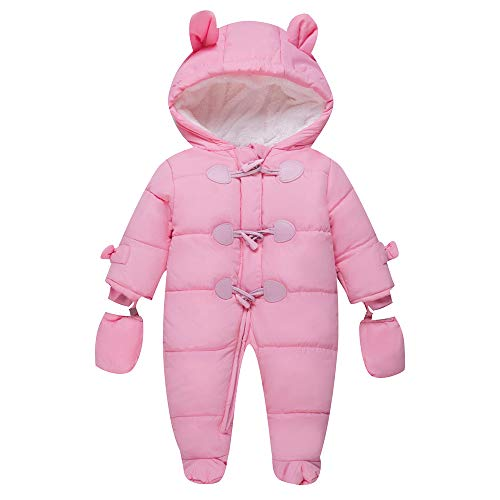 TeenMiro Baby Winter Clothes Newborn Fleece Bunting Infant Snowsuit Girl Boy Snow Wear Outwear Coats 12-18 Months Pink