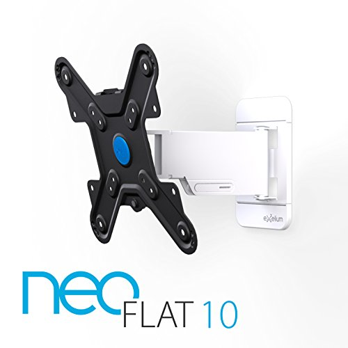 exelium neoFLAT 10 TV supporto 48-81cm (19-32°) girevolmente (+/- 5 °), orientabile (+/- 70 °), inclinazione (+ 10 °/-15 °), max 25 kg distanza parete 35-240mm, VESA 75x75 a 200x200, bianco