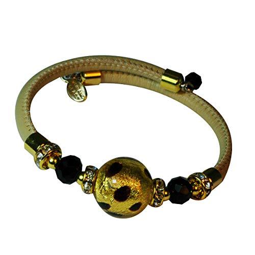 Priann Gioielli - Pulsera de mujer de piel con perla de cristal de Murano original, con hoja de oro de 24 quilates o plata 925. Fabricada en Italia dorado